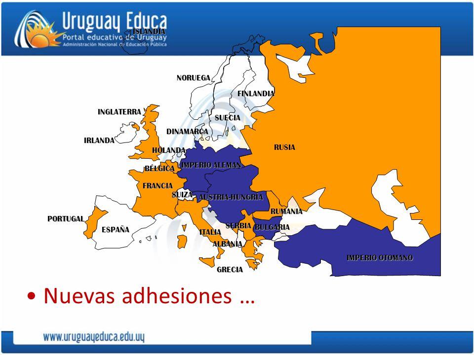 GRECIA PORTUGAL IMPERIO ALEMAN AUSTRIA-HUNGRÍA RUSIA INGLATERRA FRANCIA ESPAÑA ITALIAISLANDIANORUEGA FINLANDIA DINAMARCA HOLANDA IRLANDA BÉLGICA ALBAN