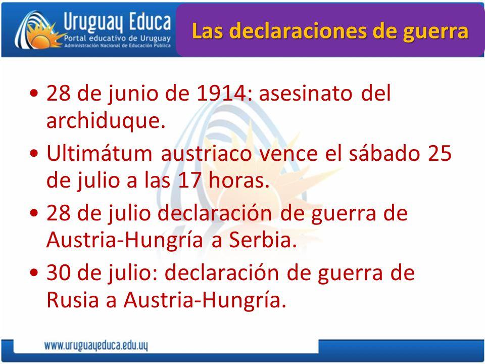 28 de junio de 1914: asesinato del archiduque. Ultimátum austriaco vence el sábado 25 de julio a las 17 horas. 28 de julio declaración de guerra de Au