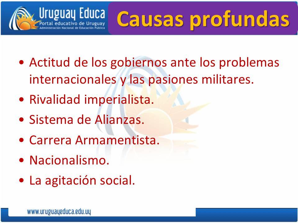 Causas profundas Actitud de los gobiernos ante los problemas internacionales y las pasiones militares. Rivalidad imperialista. Sistema de Alianzas. Ca