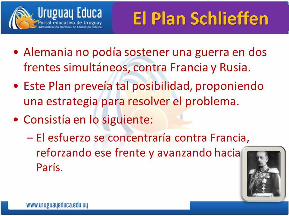 El Plan Schlieffen Alemania no podía sostener una guerra en dos frentes simultáneos, contra Francia y Rusia. Este Plan preveía tal posibilidad, propon