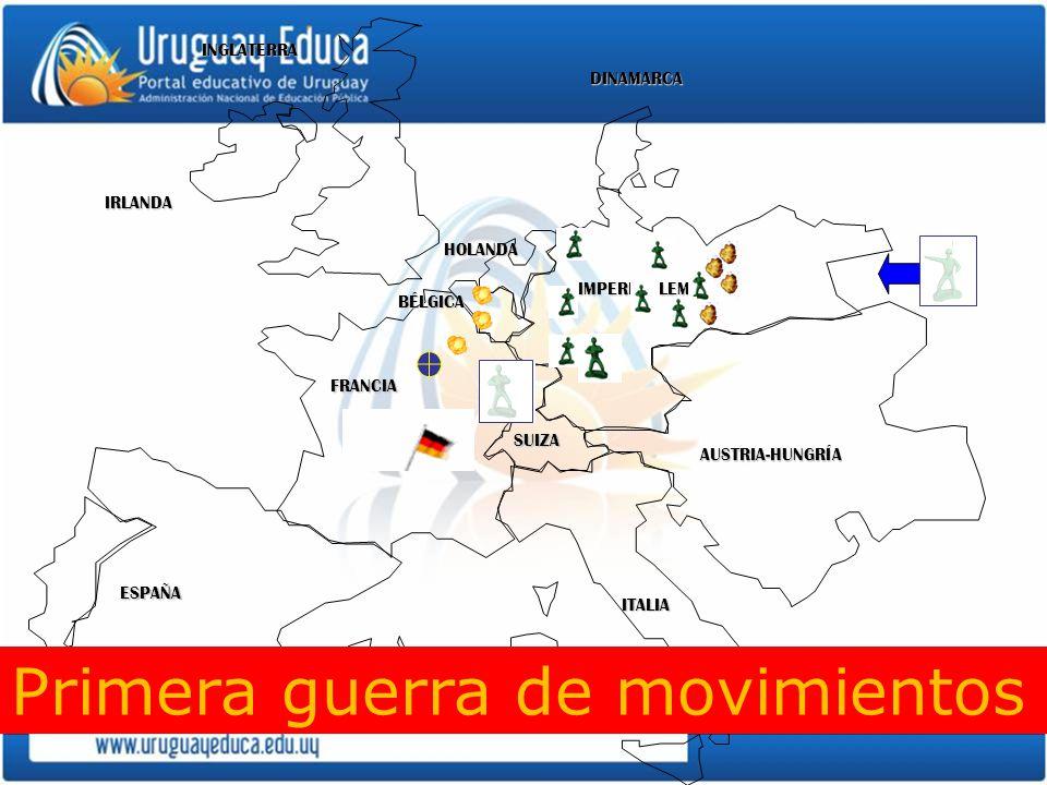 IMPERIO ALEMAN AUSTRIA-HUNGRÍA INGLATERRA FRANCIA ESPAÑA ITALIA DINAMARCA HOLANDA IRLANDA BÉLGICA SUIZA Primera guerra de movimientos