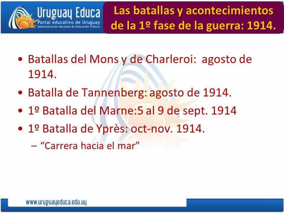 Las batallas y acontecimientos de la 1º fase de la guerra: 1914. Batallas del Mons y de Charleroi: agosto de 1914. Batalla de Tannenberg: agosto de 19
