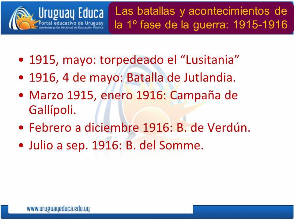 1915, mayo: torpedeado el Lusitania 1916, 4 de mayo: Batalla de Jutlandia. Marzo 1915, enero 1916: Campaña de Gallípoli. Febrero a diciembre 1916: B.