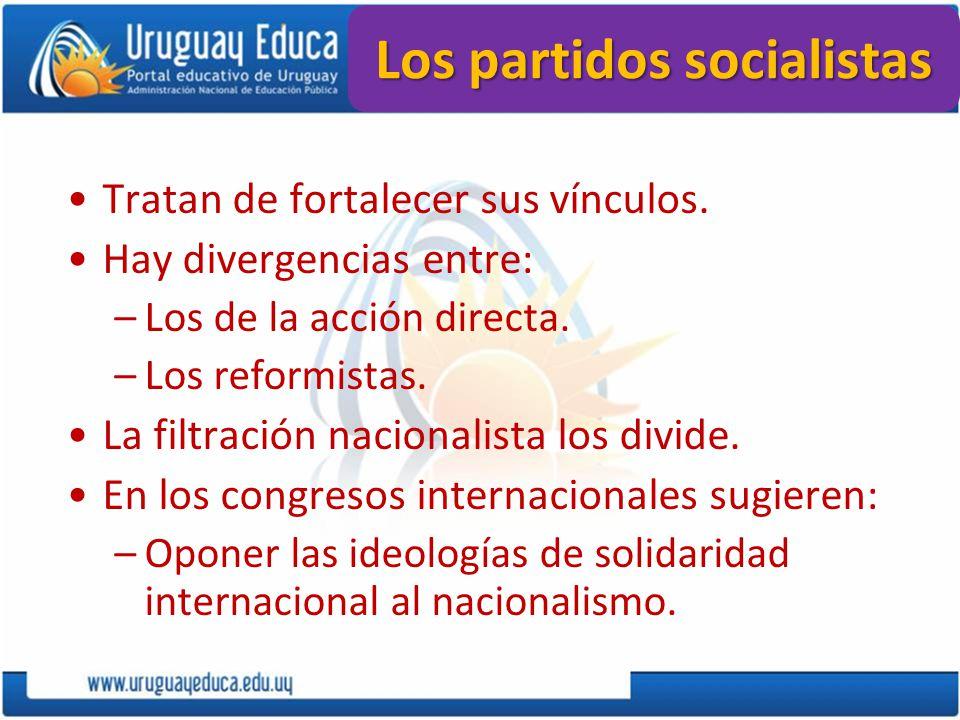 Los partidos socialistas Tratan de fortalecer sus vínculos. Hay divergencias entre: –Los de la acción directa. –Los reformistas. La filtración naciona