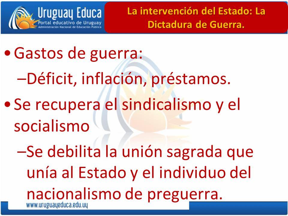 Gastos de guerra: –Déficit, inflación, préstamos. Se recupera el sindicalismo y el socialismo –Se debilita la unión sagrada que unía al Estado y el in