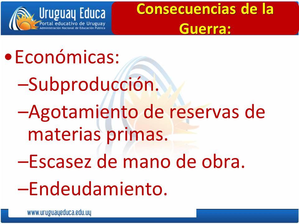 Económicas: –Subproducción. –Agotamiento de reservas de materias primas. –Escasez de mano de obra. –Endeudamiento. Consecuencias de la Guerra:
