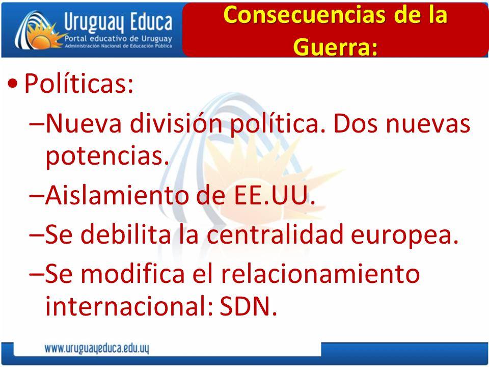 Políticas: –Nueva división política. Dos nuevas potencias. –Aislamiento de EE.UU. –Se debilita la centralidad europea. –Se modifica el relacionamiento