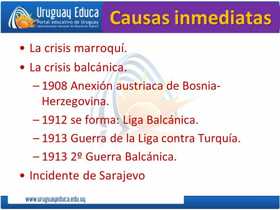 Causas inmediatas La crisis marroquí. La crisis balcánica. –1908 Anexión austriaca de Bosnia- Herzegovina. –1912 se forma: Liga Balcánica. –1913 Guerr