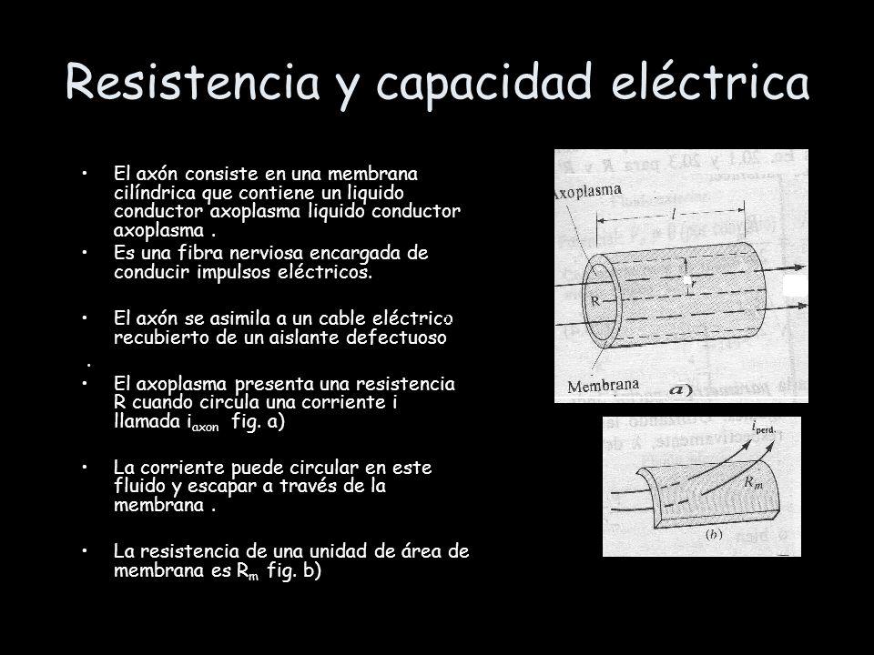 Resistencia y capacidad eléctrica El axón consiste en una membrana cilíndrica que contiene un liquido conductor axoplasma liquido conductor axoplasma.