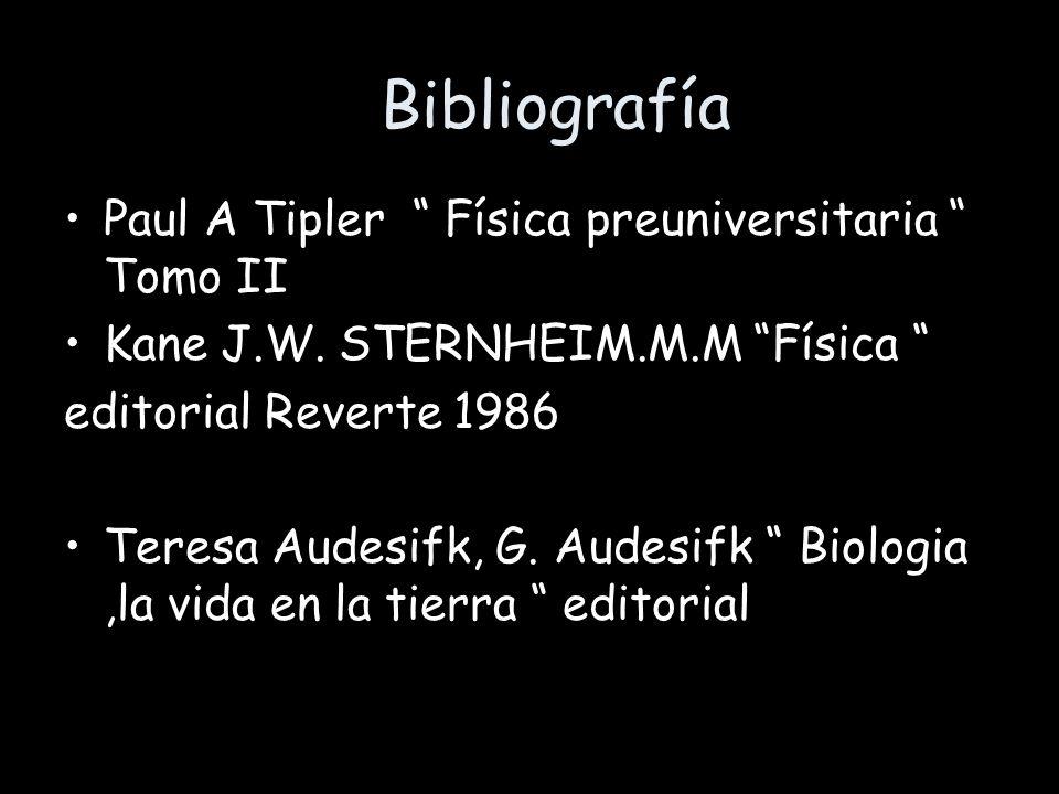 Bibliografía Paul A Tipler Física preuniversitaria Tomo II Kane J.W. STERNHEIM.M.M Física editorial Reverte 1986 Teresa Audesifk, G. Audesifk Biologia