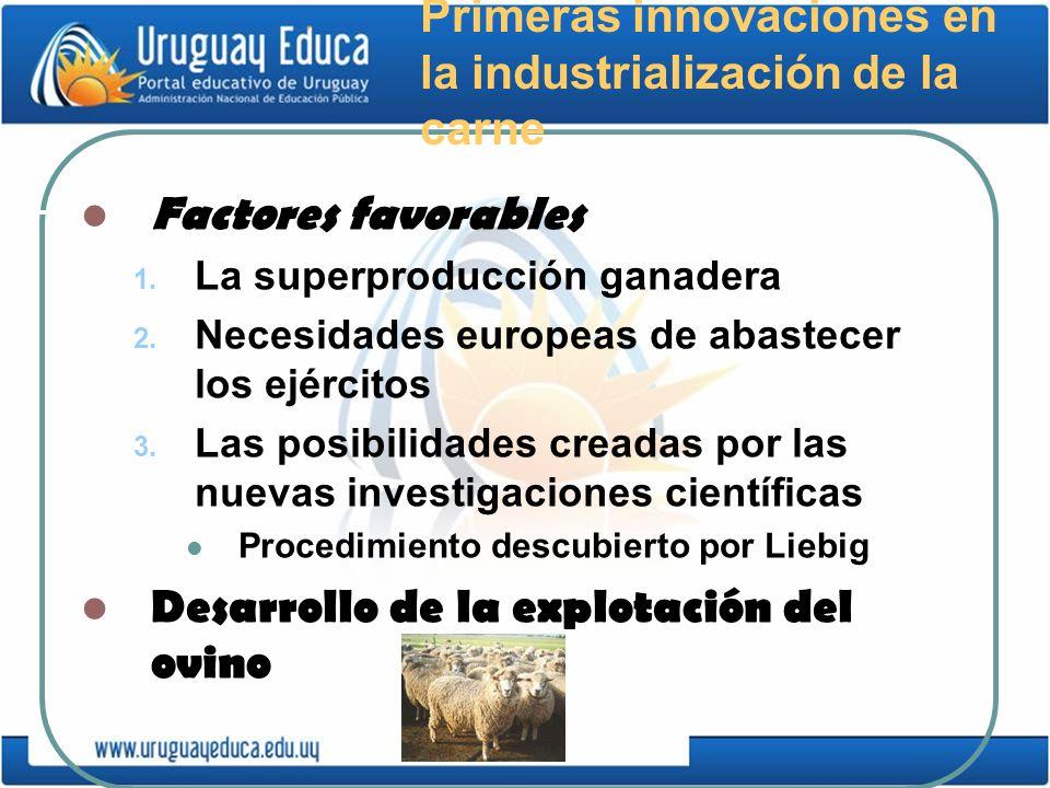 Primeras innovaciones en la industrialización de la carne Factores favorables 1. La superproducción ganadera 2. Necesidades europeas de abastecer los