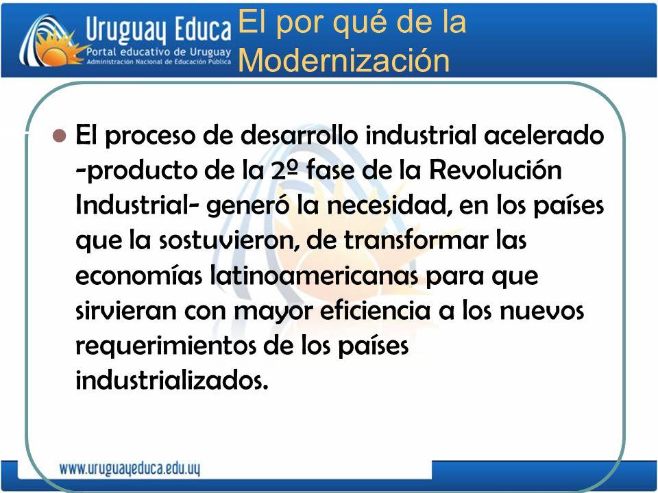 El por qué de la Modernización El proceso de desarrollo industrial acelerado -producto de la 2º fase de la Revolución Industrial- generó la necesidad,