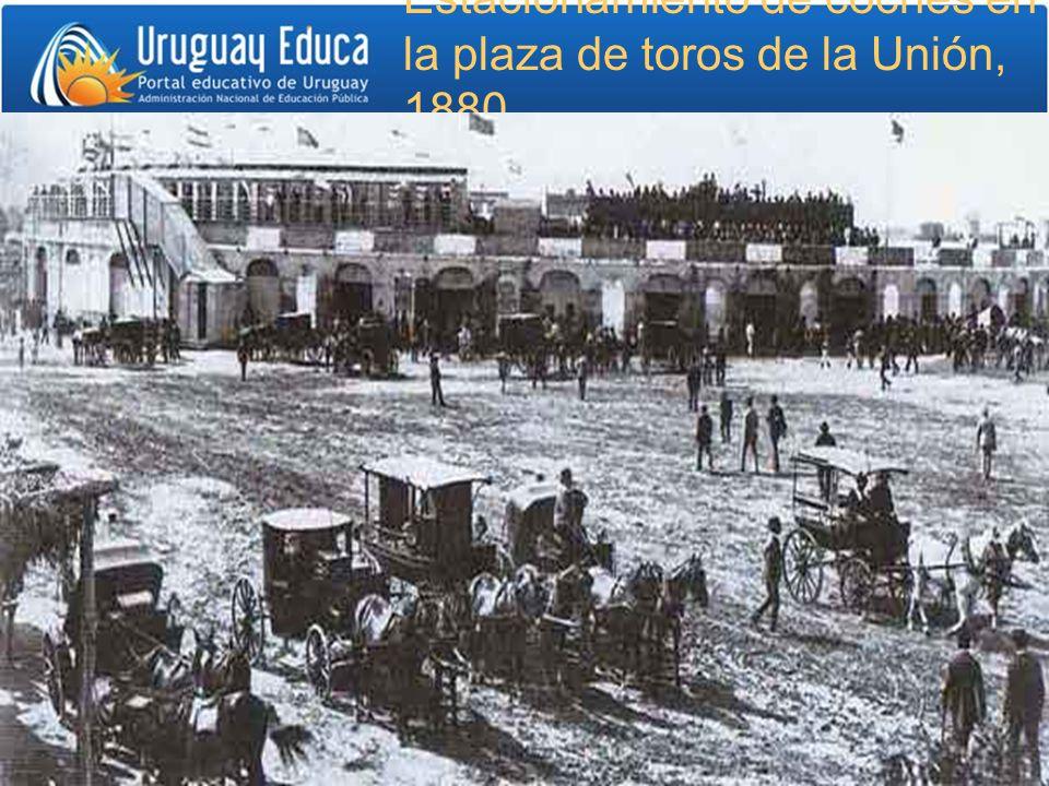 Estacionamiento de coches en la plaza de toros de la Unión, 1880.