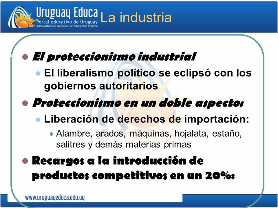 La industria El proteccionismo industrial El liberalismo político se eclipsó con los gobiernos autoritarios Proteccionismo en un doble aspecto: Libera