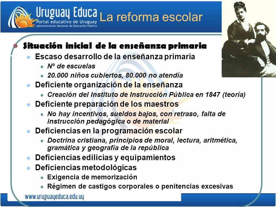 La reforma escolar Situación inicial de la enseñanza primaria Escaso desarrollo de la enseñanza primaria Nº de escuelas 20.000 niños cubiertos, 80.000
