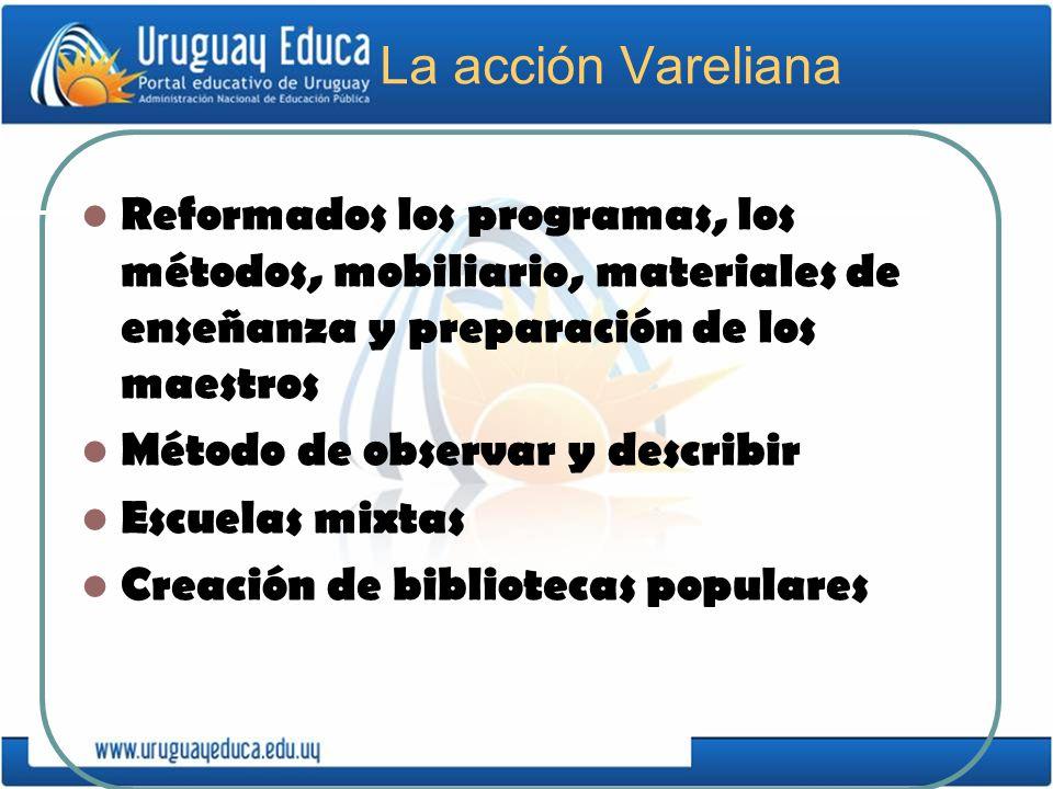 La acción Vareliana Reformados los programas, los métodos, mobiliario, materiales de enseñanza y preparación de los maestros Método de observar y desc