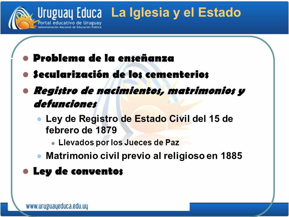 La Iglesia y el Estado Problema de la enseñanza Secularización de los cementerios Registro de nacimientos, matrimonios y defunciones Ley de Registro d