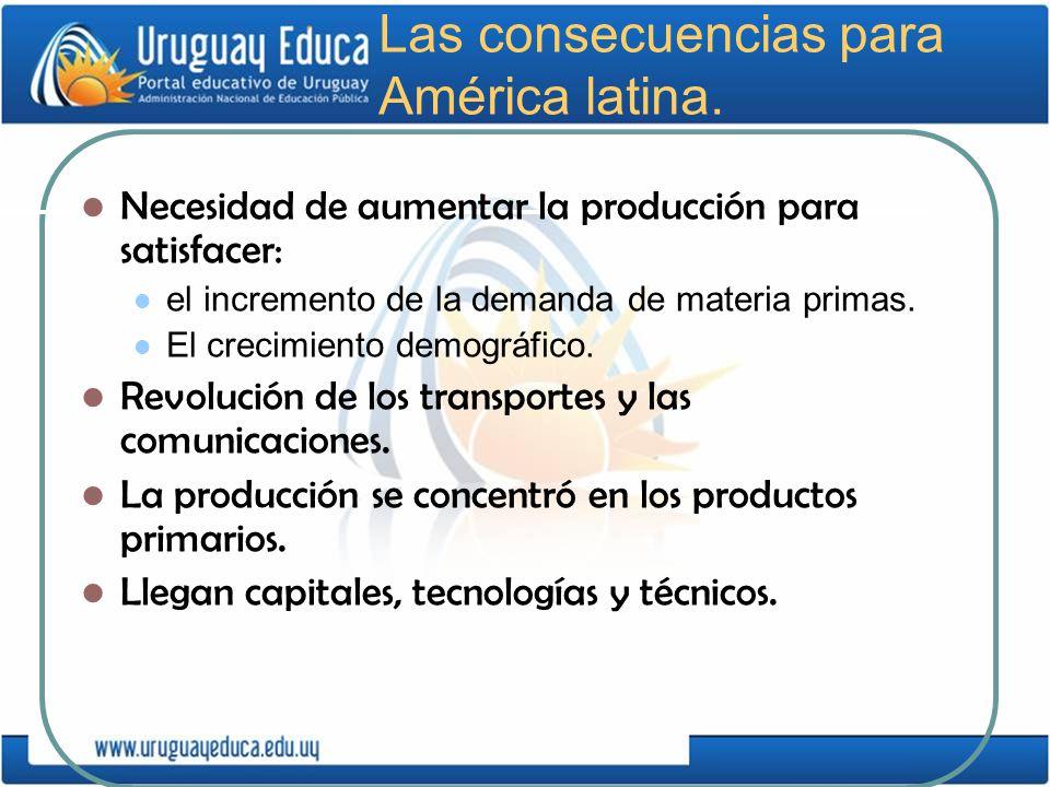 Las consecuencias para América latina. Necesidad de aumentar la producción para satisfacer: el incremento de la demanda de materia primas. El crecimie