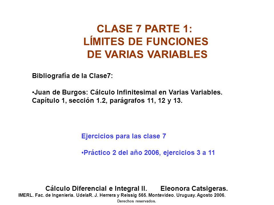 CLASE 7 PARTE 1: LÍMITES DE FUNCIONES DE VARIAS VARIABLES Cálculo Diferencial e Integral II. Eleonora Catsigeras. IMERL. Fac. de Ingeniería. UdelaR. J