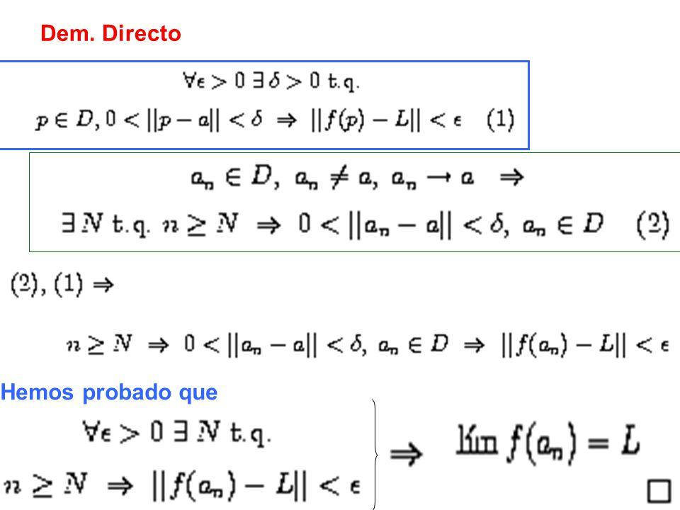 Dem. Recíproco Lo anterior se obtiene NEGANDO la definición de límite de f igual a L.
