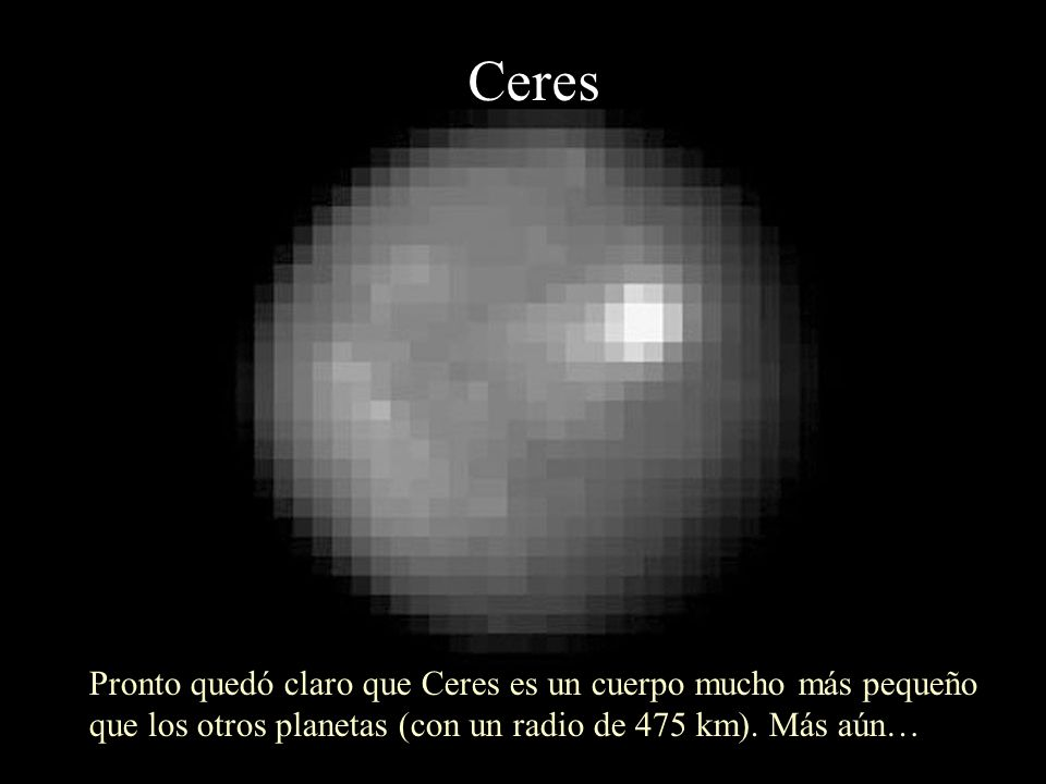 Ceres Pronto quedó claro que Ceres es un cuerpo mucho más pequeño que los otros planetas (con un radio de 475 km). Más aún…
