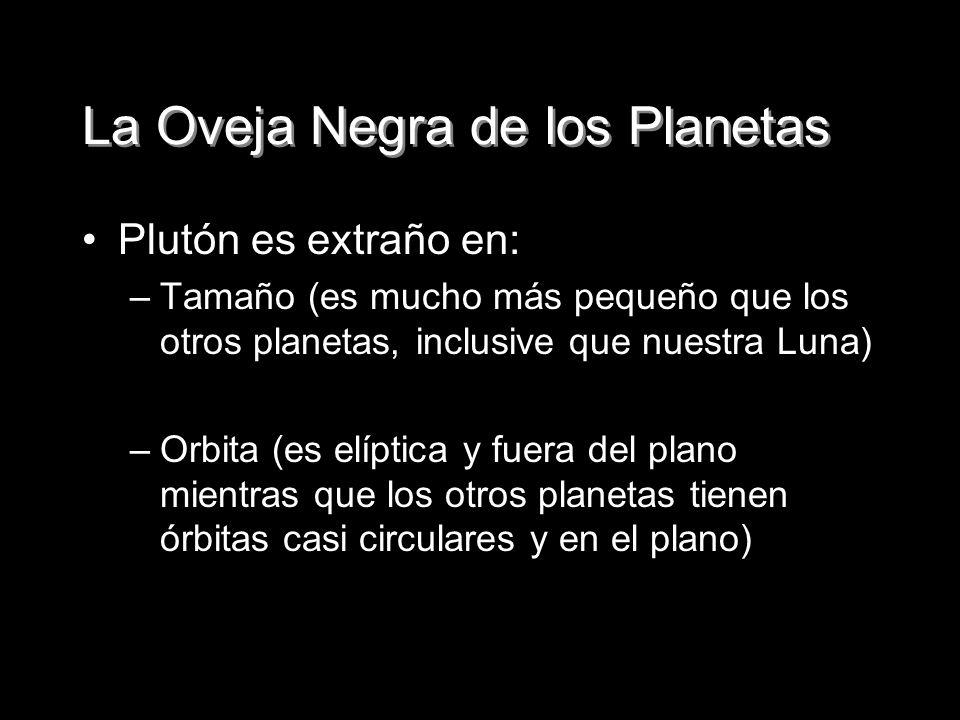 La Oveja Negra de los Planetas Plutón es extraño en: –Tamaño (es mucho más pequeño que los otros planetas, inclusive que nuestra Luna) –Orbita (es elí