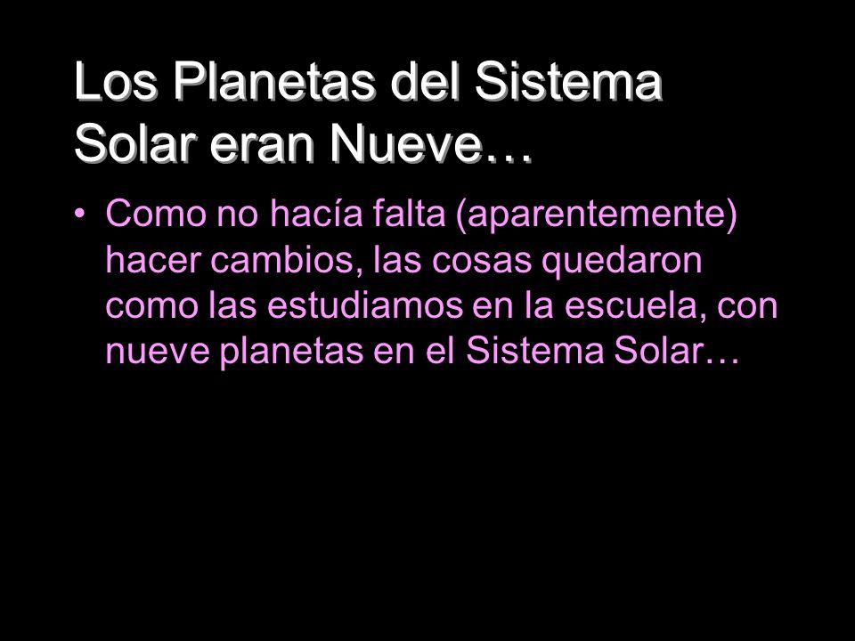 Los Planetas del Sistema Solar eran Nueve… Como no hacía falta (aparentemente) hacer cambios, las cosas quedaron como las estudiamos en la escuela, co
