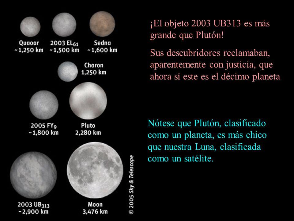 ¡El objeto 2003 UB313 es más grande que Plutón! Sus descubridores reclamaban, aparentemente con justicia, que ahora sí este es el décimo planeta Nótes
