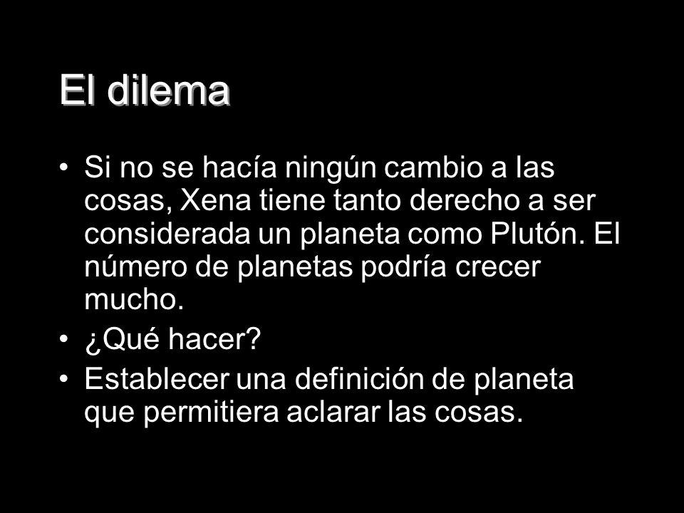 El dilema Si no se hacía ningún cambio a las cosas, Xena tiene tanto derecho a ser considerada un planeta como Plutón. El número de planetas podría cr