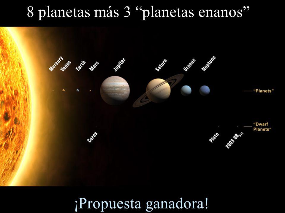 8 planetas más 3 planetas enanos ¡Propuesta ganadora!