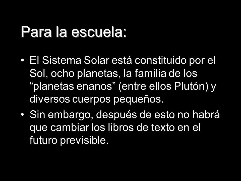 Para la escuela: El Sistema Solar está constituido por el Sol, ocho planetas, la familia de los planetas enanos (entre ellos Plutón) y diversos cuerpo