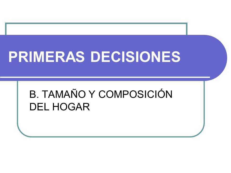 PRIMERAS DECISIONES B. TAMAÑO Y COMPOSICIÓN DEL HOGAR