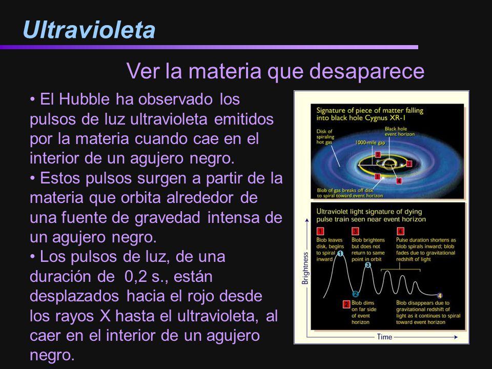 Ultravioleta El Hubble ha observado los pulsos de luz ultravioleta emitidos por la materia cuando cae en el interior de un agujero negro. Estos pulsos