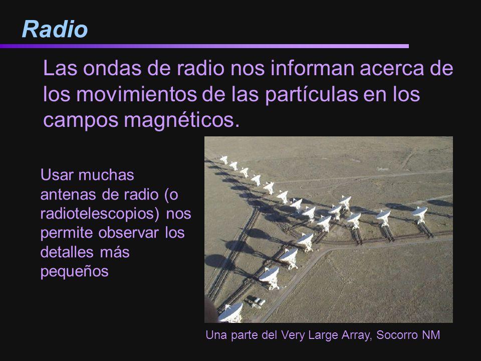 Radio Las ondas de radio nos informan acerca de los movimientos de las partículas en los campos magnéticos. Una parte del Very Large Array, Socorro NM