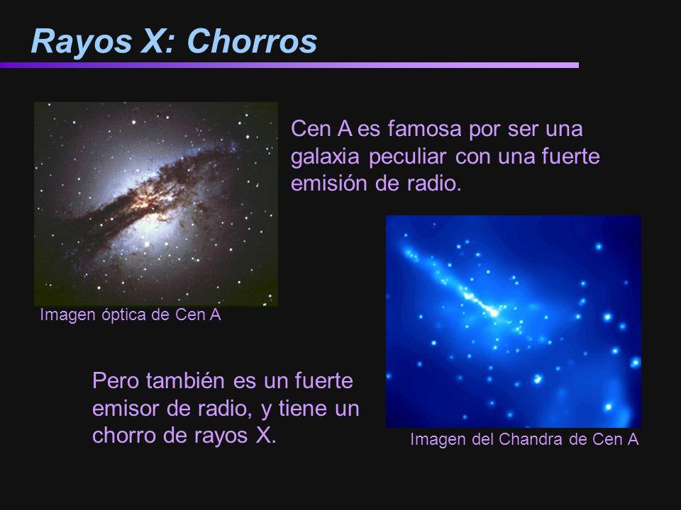 Rayos X: Chorros Cen A es famosa por ser una galaxia peculiar con una fuerte emisión de radio. Imagen óptica de Cen A Imagen del Chandra de Cen A Pero