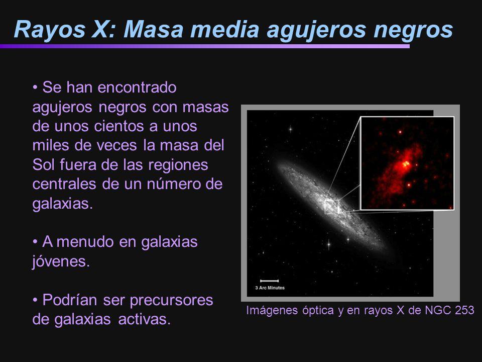 Rayos X: Masa media agujeros negros Se han encontrado agujeros negros con masas de unos cientos a unos miles de veces la masa del Sol fuera de las regiones centrales de un número de galaxias.
