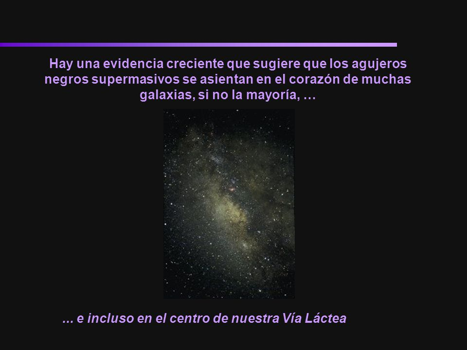 Hay una evidencia creciente que sugiere que los agujeros negros supermasivos se asientan en el corazón de muchas galaxias, si no la mayoría, …... e in