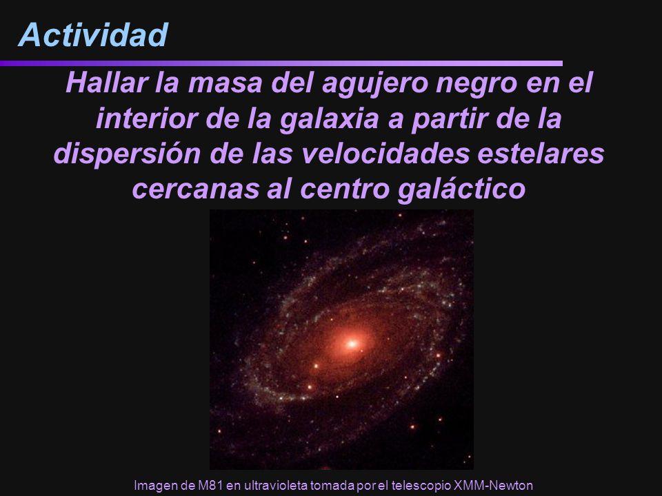 Hallar la masa del agujero negro en el interior de la galaxia a partir de la dispersión de las velocidades estelares cercanas al centro galáctico Actividad Imagen de M81 en ultravioleta tomada por el telescopio XMM-Newton