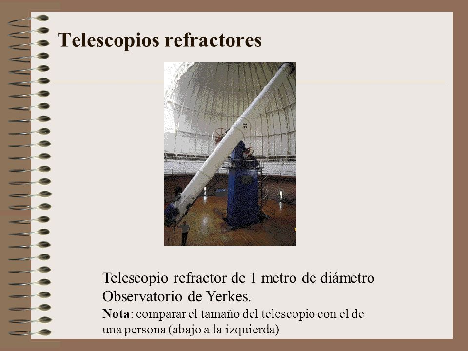 Telescopios refractores Telescopio refractor de 1 metro de diámetro Observatorio de Yerkes. Nota: comparar el tamaño del telescopio con el de una pers
