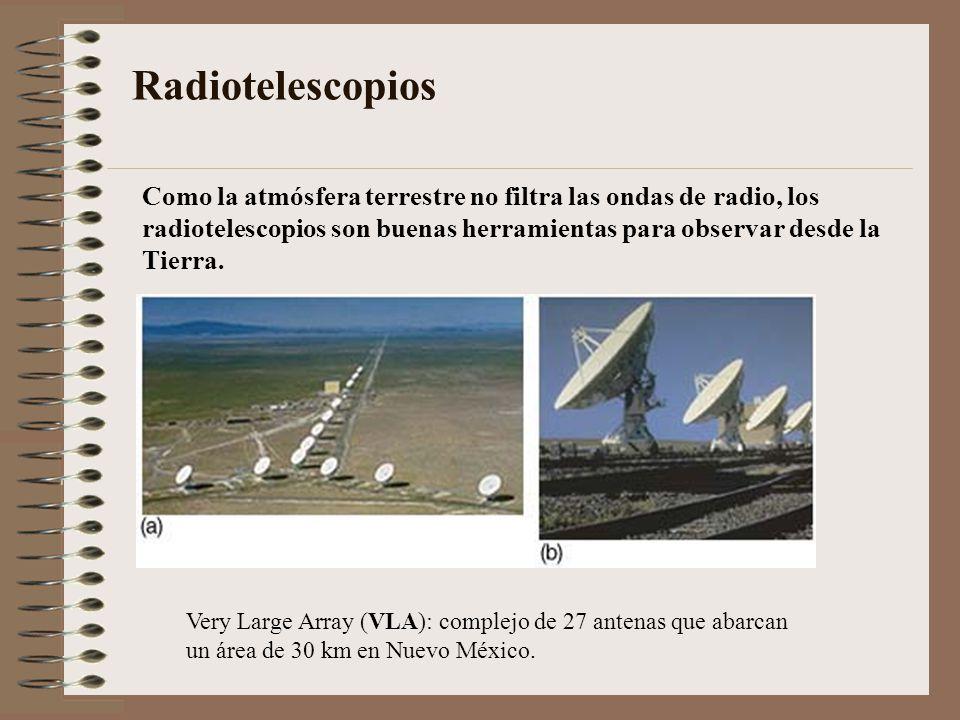 Radiotelescopios Very Large Array (VLA): complejo de 27 antenas que abarcan un área de 30 km en Nuevo México. Como la atmósfera terrestre no filtra la