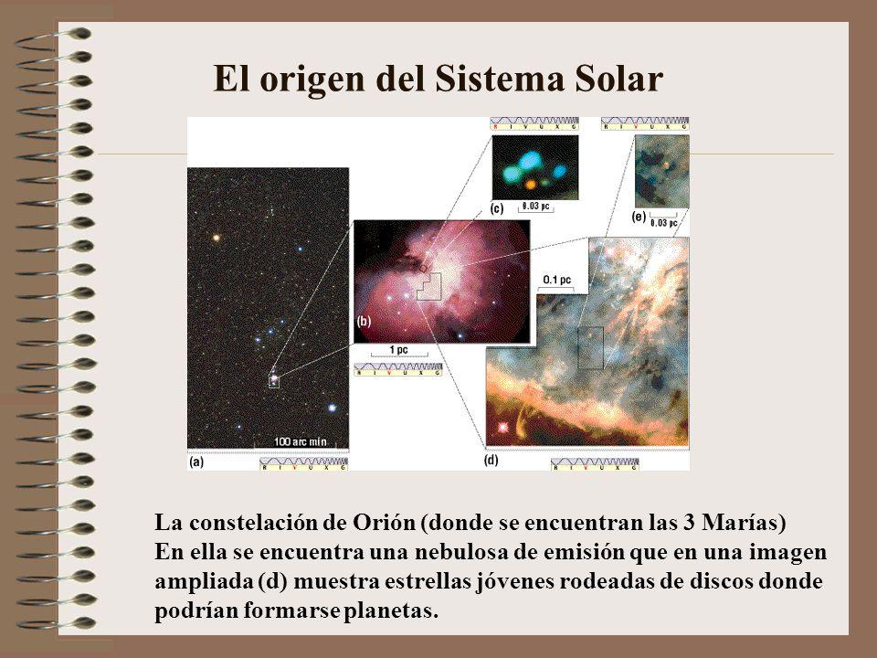 El origen del Sistema Solar La constelación de Orión (donde se encuentran las 3 Marías) En ella se encuentra una nebulosa de emisión que en una imagen
