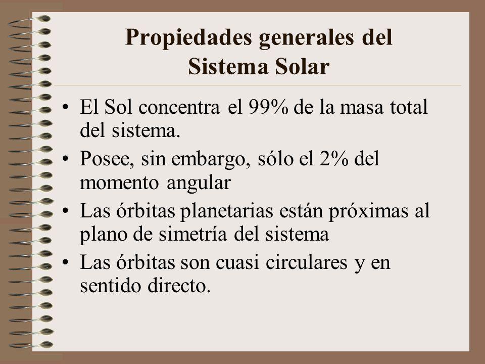 Propiedades generales del Sistema Solar El Sol concentra el 99% de la masa total del sistema. Posee, sin embargo, sólo el 2% del momento angular Las ó