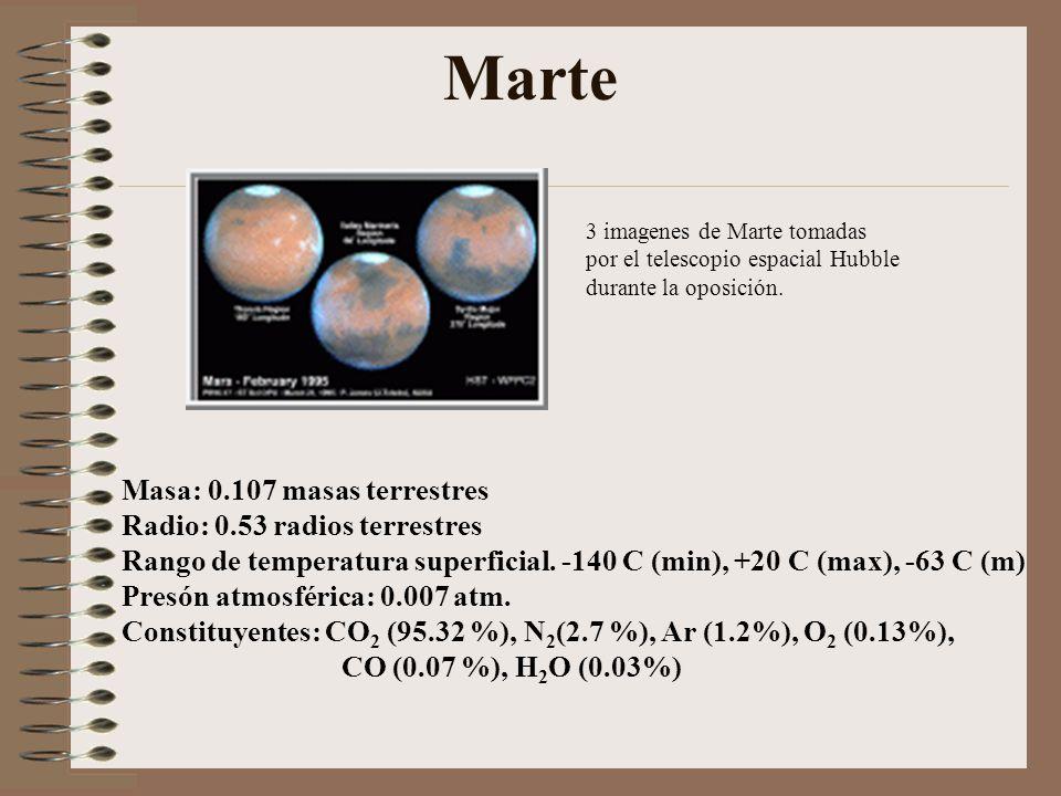 Marte 3 imagenes de Marte tomadas por el telescopio espacial Hubble durante la oposición. Masa: 0.107 masas terrestres Radio: 0.53 radios terrestres R