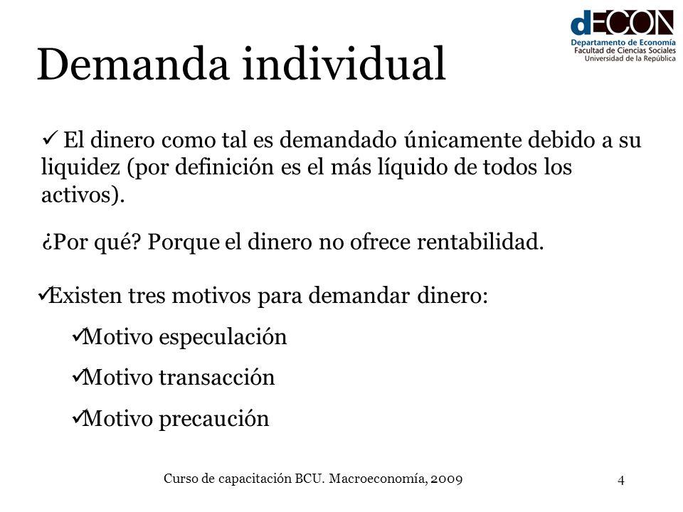 Curso de capacitación BCU. Macroeconomía, 20094 Demanda individual El dinero como tal es demandado únicamente debido a su liquidez (por definición es