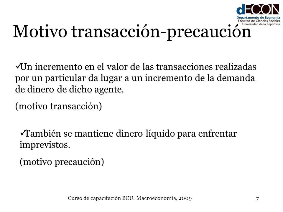 Curso de capacitación BCU. Macroeconomía, 20097 Motivo transacción-precaución Un incremento en el valor de las transacciones realizadas por un particu