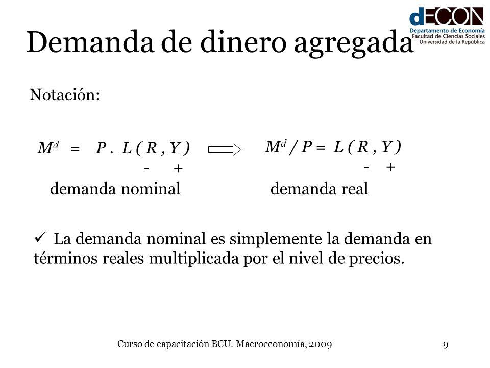 Curso de capacitación BCU. Macroeconomía, 20099 Demanda de dinero agregada M d = P. L ( R, Y ) - + Notación: M d / P = L ( R, Y ) - + demanda nominald