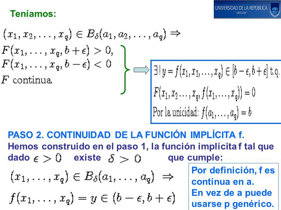 Teníamos: PASO 2. CONTINUIDAD DE LA FUNCIÓN IMPLÍCITA f. Hemos construido en el paso 1, la función implícita f tal que dado existe que cumple: Por def