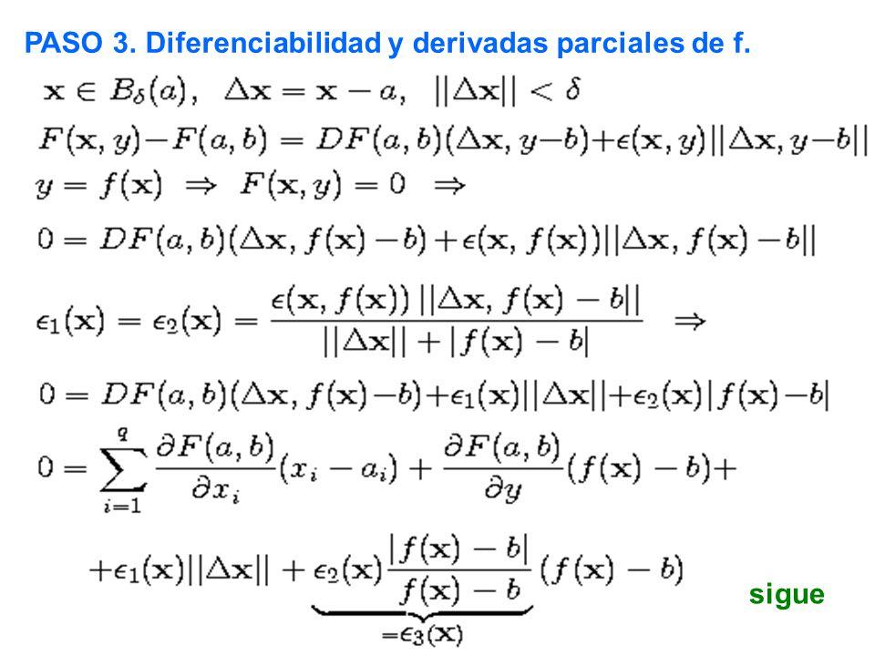 PASO 3. Diferenciabilidad y derivadas parciales de f. sigue