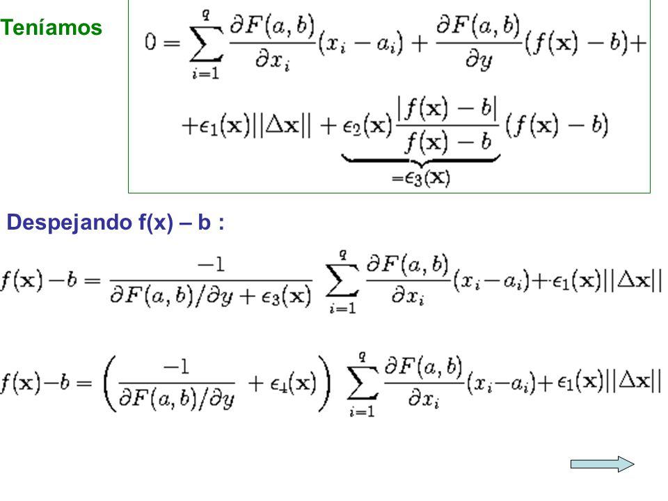 Teníamos Despejando f(x) – b :
