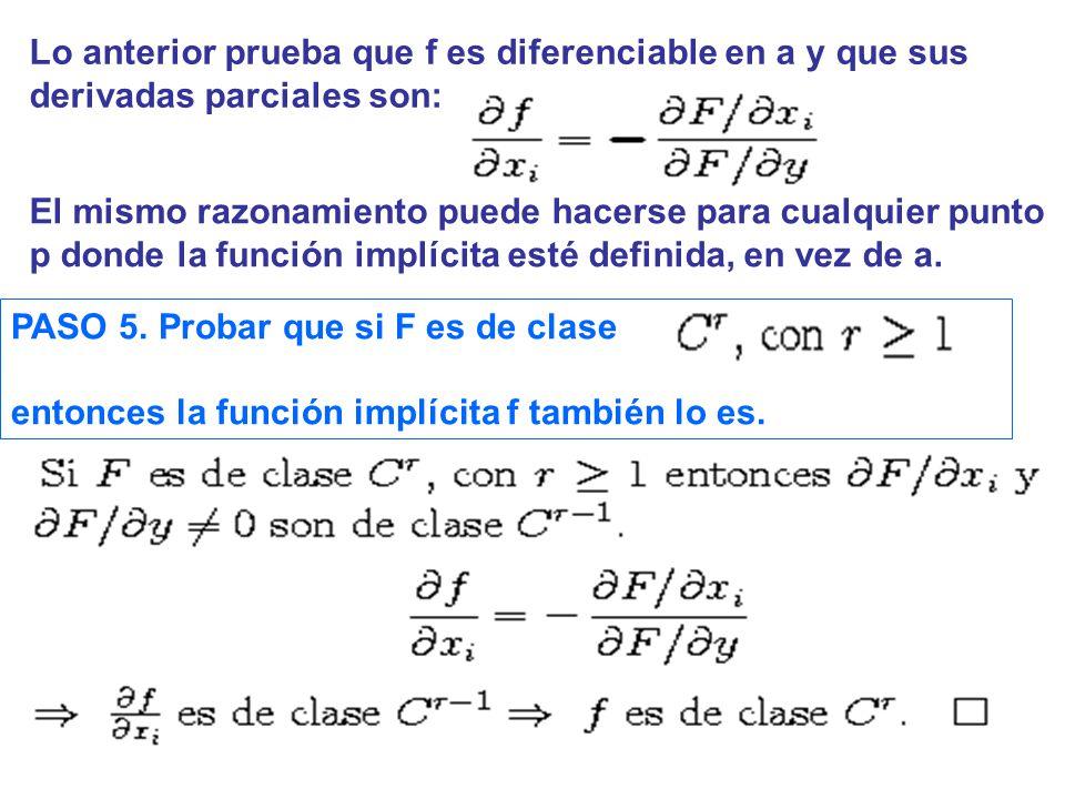 Lo anterior prueba que f es diferenciable en a y que sus derivadas parciales son: El mismo razonamiento puede hacerse para cualquier punto p donde la